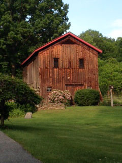 "Mulberry Farm's ""Bank"" Barn in the Spring"